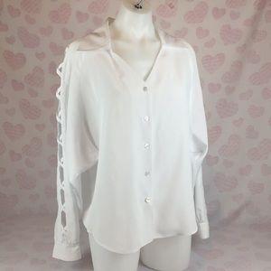 White Oversized Dress Shirt With Ladder Sleeves